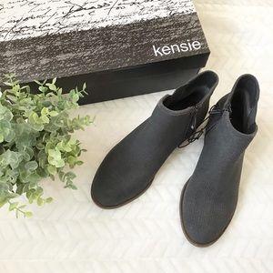Kensie Gerona Suede Stacked Heel Bootie